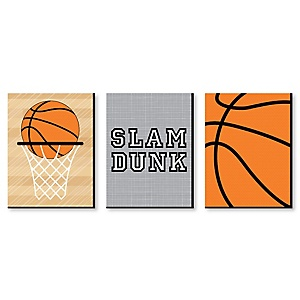 "Nothin' But Net - Basketball - Sports Themed Wall Art & Kids Room Décor - 7.5"" x 10"" - Set of 3 Prints"