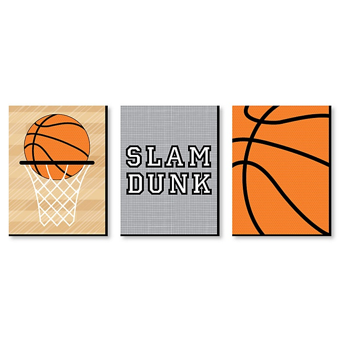 Nothin' But Net - Basketball - Sports Themed Nursery Wall Art, Kids Room Decor and Game Room Home Decorations - 7.5 x 10 inches - Set of 3 Prints