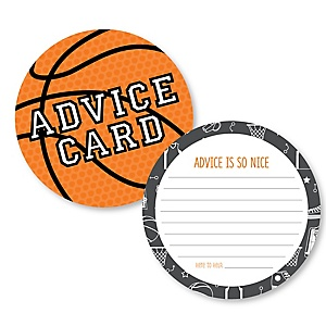 Nothin' But Net - Basketball - Wish Card Baby Shower Activities - Shaped Advice Cards Game - Set of 20