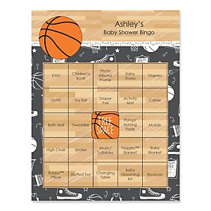 Nothin' But Net - Basketball - Bingo Personalized Baby Shower Games - 16 Count