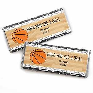 Nothin' But Net - Basketball - Personalized Candy Bar Wrapper Baby Shower or Birthday Party Favors - Set of 24