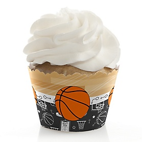 Nothin' But Net - Basketball - Baby Shower Decorations - Party Cupcake Wrappers - Set of 12