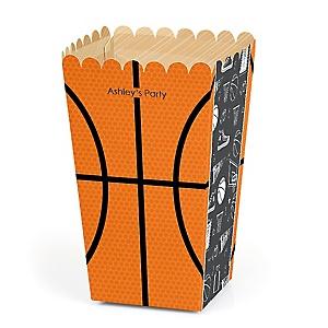 Nothin' But Net - Basketball - Personalized Party Popcorn Favor Treat Boxes - Set of 12