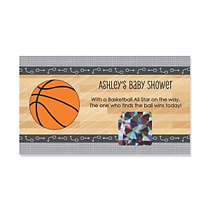 Nothin' But Net - Basketball - Personalized Baby Shower Game Scratch Off Cards - 22 ct