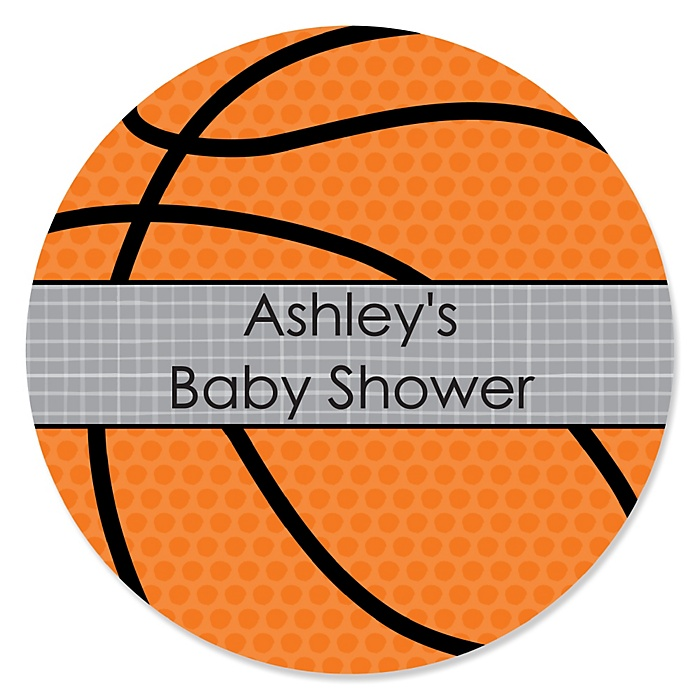 Nothin' But Net - Basketball - Personalized Baby Shower Sticker Labels - 24 ct