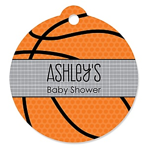Nothin' But Net - Basketball - Round Personalized Baby Shower Tags - 20 ct