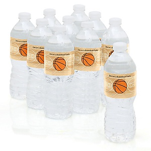 Nothin' But Net - Basketball - Personalized Party Water Bottle Sticker Labels - Set of 10