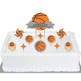Nothin' But Net - Basketball - Birthday Party Cake Decorating Kit - Happy Birthday Cake Topper Set - 11 Pieces