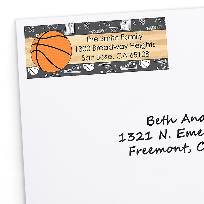 Nothin' But Net - Basketball - Personalized Birthday Party Return Address Labels - 30 ct