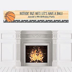Nothin' But Net - Basketball - Personalized Birthday Party Banners