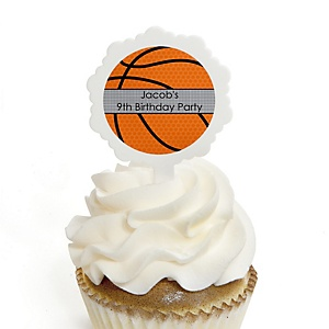 Nothin' But Net - Basketball - Personalized Birthday Party Cupcake Pick and Sticker Kit - 12 ct