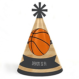 Nothin' But Net - Basketball - Personalized Cone Happy Birthday Party Hats for Kids and Adults - Set of 8 (Standard Size)