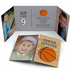 Nothin' But Net - Basketball - Personalized Birthday Party Photo Invitations - Set of 12