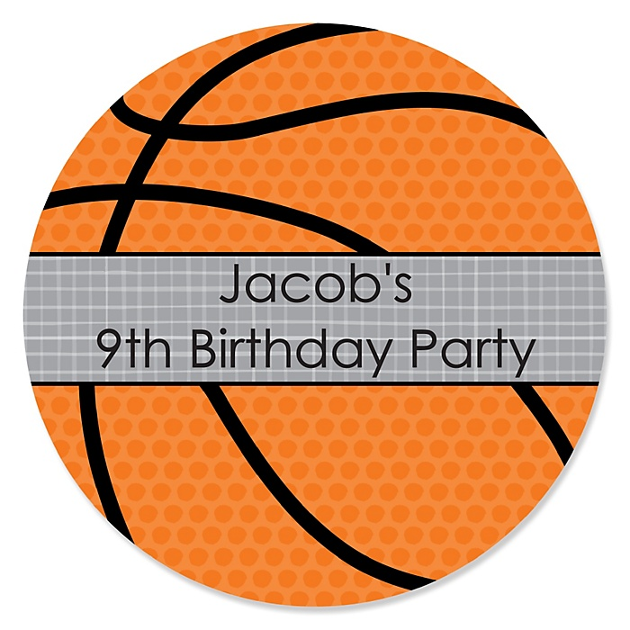 Nothin' But Net - Basketball - Personalized Birthday Party Sticker Labels - 24 ct