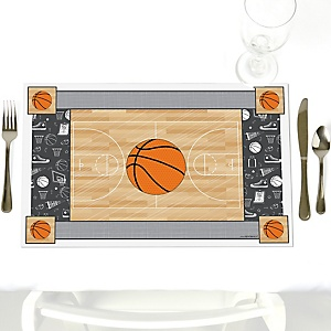 Nothin' But Net - Basketball - Party Table Decorations - Baby Shower or Birthday Party Placemats - Set of 12