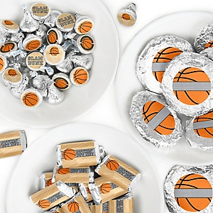 Nothin' But Net - Basketball - Mini Candy Bar Wrappers, Round Candy Stickers and Circle Stickers - Baby Shower or Birthday Party Candy Sticker Favor Kit - 304 Pieces