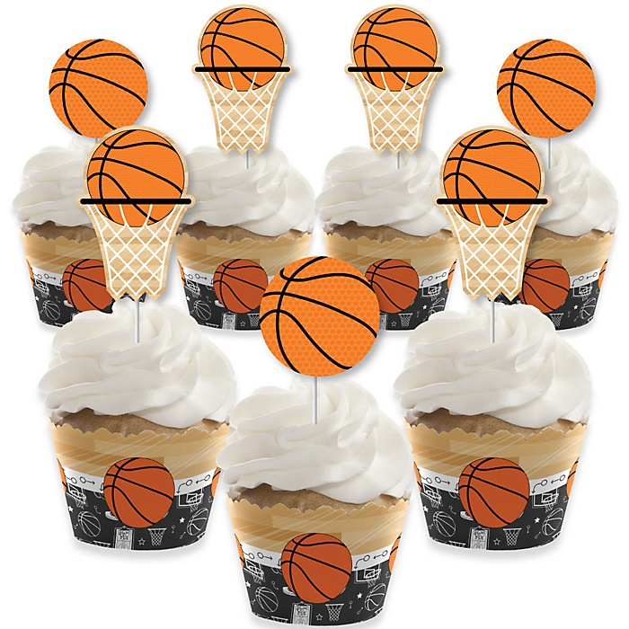 Nothin' But Net - Basketball - Cupcake Decorations - Baby Shower or Birthday Party Cupcake Wrappers and Treat Picks Kit - Set of 24