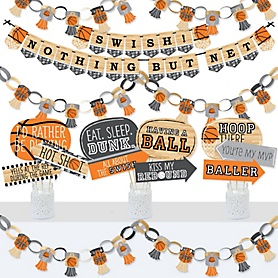 Nothin' But Net - Basketball - Banner and Photo Booth Decorations - Baby Shower or Birthday Party Supplies Kit - Doterrific Bundle