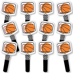 Nothin' But Net - Basketball Fundraising - Spirit Cheer Gear - Fan Sports Swag Paddles - Set of 12
