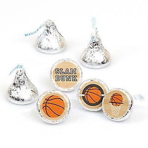 Nothin' But Net - Basketball - Round Candy Labels Party Favors - Fits Hershey's Kisses - 108 ct