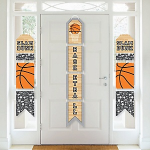 Nothin' But Net - Basketball - Hanging Vertical Paper Door Banners - Baby Shower or Birthday Party Wall Decoration Kit - Indoor Door Decor