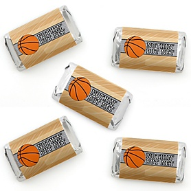 Nothin' But Net - Basketball - Mini Candy Bar Wrapper Stickers - Baby Shower or Birthday Party Small Favors - 40 Count