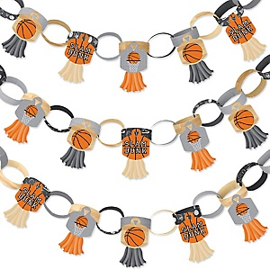 Nothin' But Net - Basketball - 90 Chain Links and 30 Paper Tassels Decoration Kit - Baby Shower or Birthday Party Paper Chains Garland - 21 feet