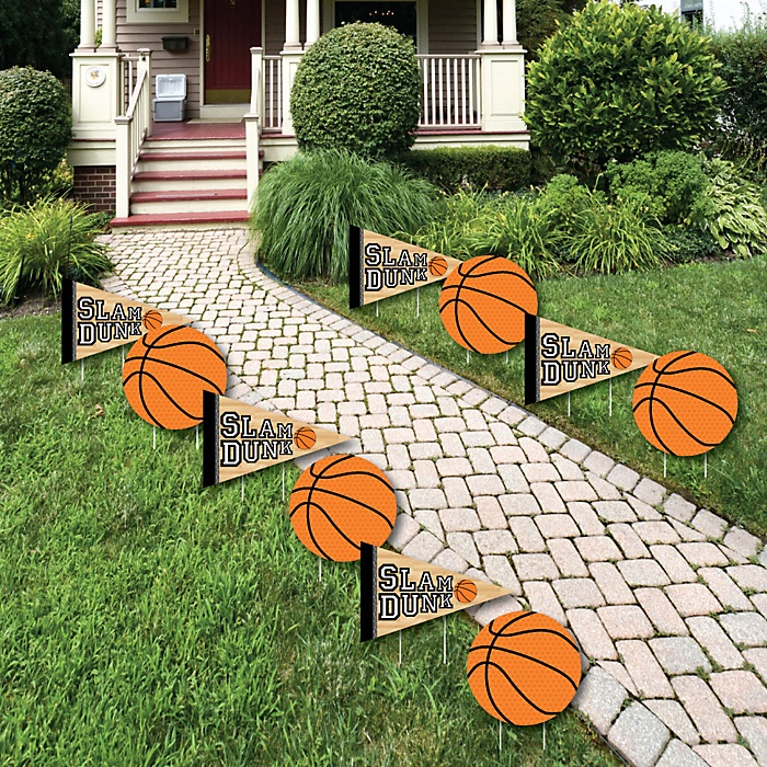 Nothin' But Net - Basketball - Lawn Decorations - Outdoor Baby Shower or Birthday Party Yard Decorations - 10 Piece