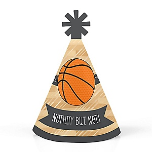 Nothin' But Net - Basketball - Personalized Mini Cone Baby Shower or Birthday Party Hats - Small Little Party Hats - Set of 10