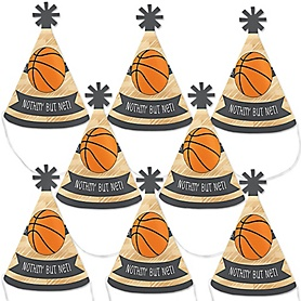 Nothin' But Net - Basketball - Mini Cone Baby Shower or Birthday Party Hats - Small Little Party Hats - Set of 8
