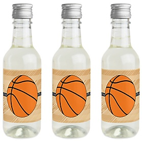 Nothin' But Net - Basketball - Mini Wine and Champagne Bottle Label Stickers - Baby Shower or Birthday Party Favor Gift for Women and Men - Set of 16