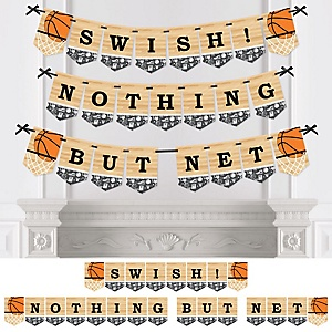 Nothin' But Net - Basketball - Baby Shower or Birthday Party Bunting Banner - Party Decorations - Swish Nothing But Net