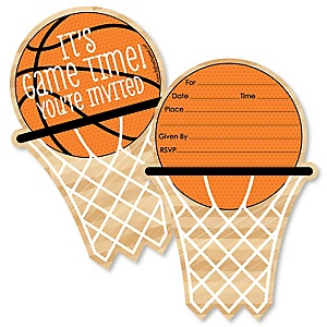 Nothin' But Net - Basketball - Shaped Fill-In Invitations - Baby Shower or Birthday Party Invitation Cards with Envelopes - Set of 12
