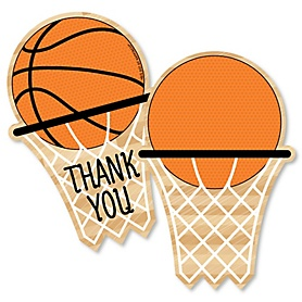 Nothin' But Net - Basketball - Shaped Thank You Cards - Baby Shower or Birthday Party Thank You Note Cards with Envelopes - Set of 12
