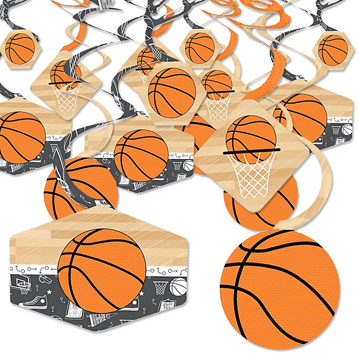 Nothin' But Net - Basketball - Baby Shower or Birthday Party Hanging Decor - Party Decoration Swirls - Set of 40