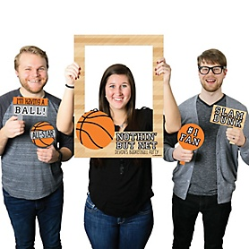 Nothin' But Net - Basketball - Personalized Birthday Party or Baby Shower Selfie Photo Booth Picture Frame & Props - Printed on Sturdy Material