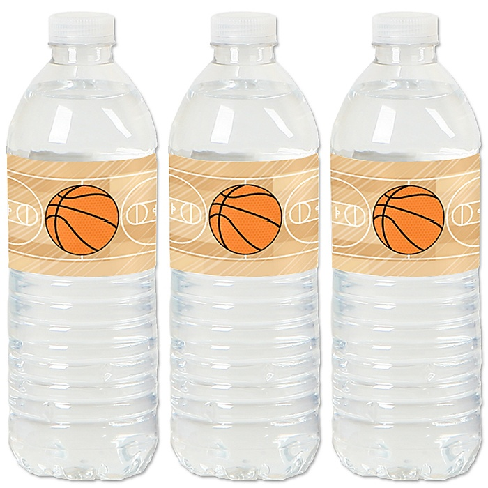 Nothin' But Net - Basketball - Baby Shower or Birthday Party Water Bottle Sticker Labels - Set of 20