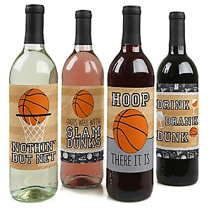 Nothin' But Net - Basketball - Baby Shower or Birthday Party Decorations for Women and Men - Wine Bottle Label Stickers - Set of 4