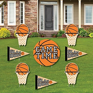 Nothin' But Net - Basketball - Yard Sign & Outdoor Lawn Decorations - Baby Shower or Birthday Party Yard Signs - Set of 8