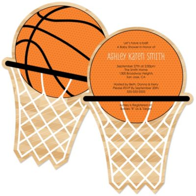 Nothin But Net Basketball Shaped Baby Shower Invitations