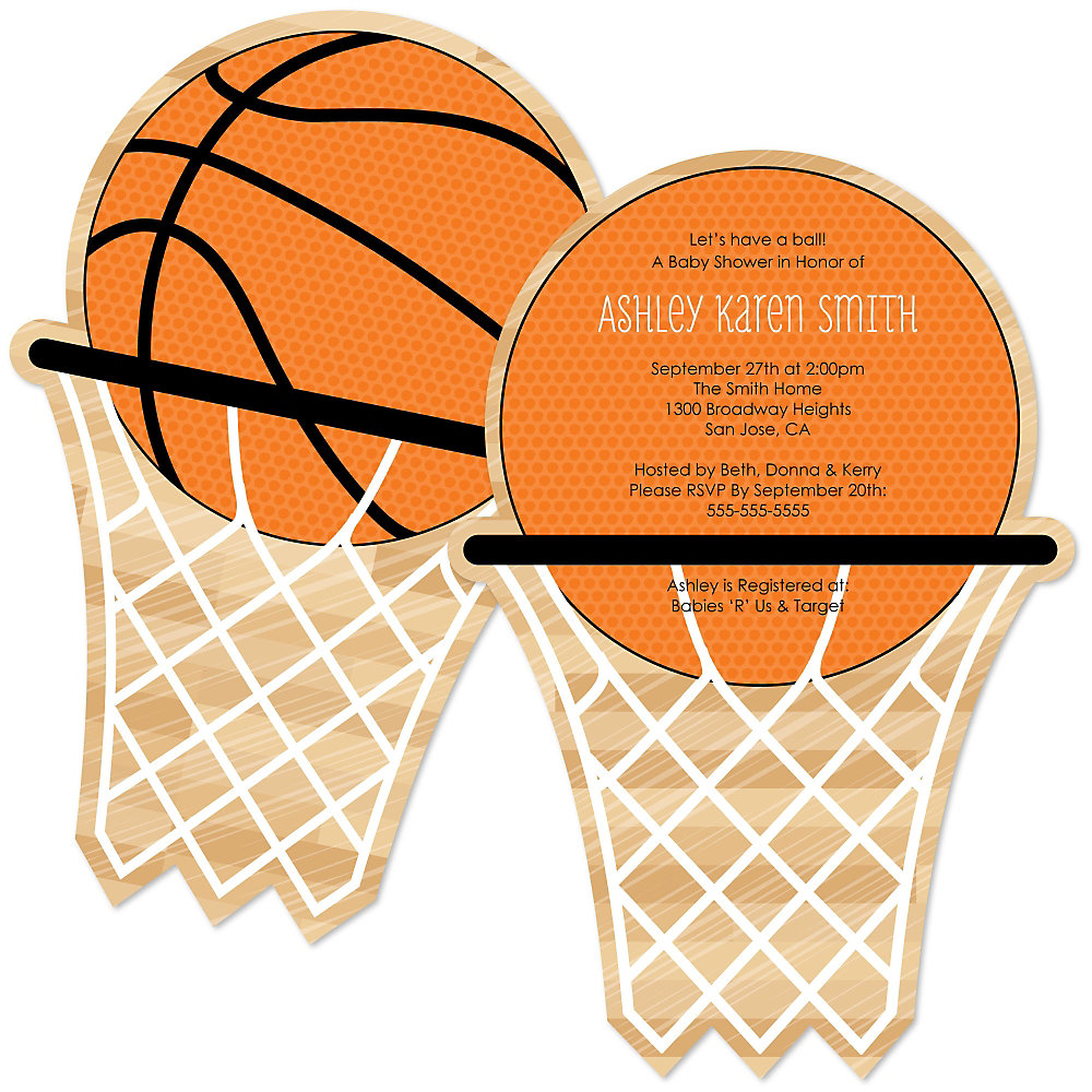 More Views. Nothinu0027 But Net   Basketball   Shaped Baby Shower Invitations  ...