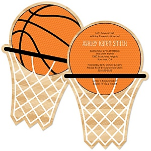 Nothin' But Net - Basketball - Shaped Baby Shower Invitations - Set of 12