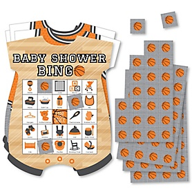Nothin' But Net - Basketball - Picture Bingo Cards and Markers - Baby Shower Shaped Bingo Game - Set of 18
