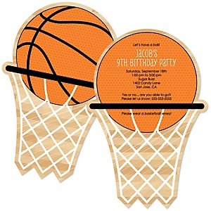 Nothin' But Net - Basketball - Personalized Birthday Party Invitations - Set of 12