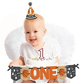 Nothin' But Net - Basketball 1st Birthday - First Birthday Boy or Girl Smash Cake Decorating Kit - High Chair Decorations