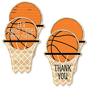 Nothin' But Net - Basketball - 20 Shaped Fill-In Invitations and 20 Shaped Thank You Cards Kit - Baby Shower or Birthday Party Stationery Kit - 40 Pack