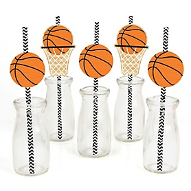 Nothin' But Net - Basketball - Paper Straw Decor - Baby Shower or Birthday Party Striped Decorative Straws - Set of 24