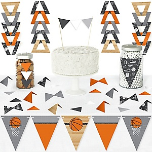 Nothin' But Net - Basketball - DIY Pennant Banner Decorations - Baby Shower or Birthday Party Triangle Kit - 99 Pieces