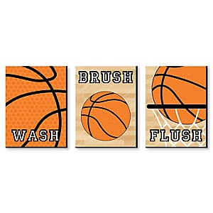 Nothin' But Net - Basketball - Kids Bathroom Rules Wall Art - 7.5 x 10 inches - Set of 3 Signs - Wash, Brush, Flush