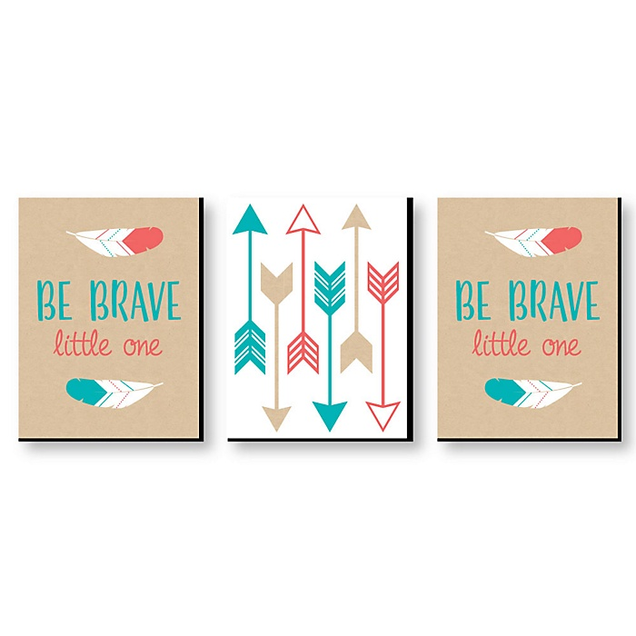 Be Brave Little One - Gender Neutral Boho Tribal Nursery Wall Art & Kids Room Decor - 7.5 x 10 inches - Set of 3 Prints
